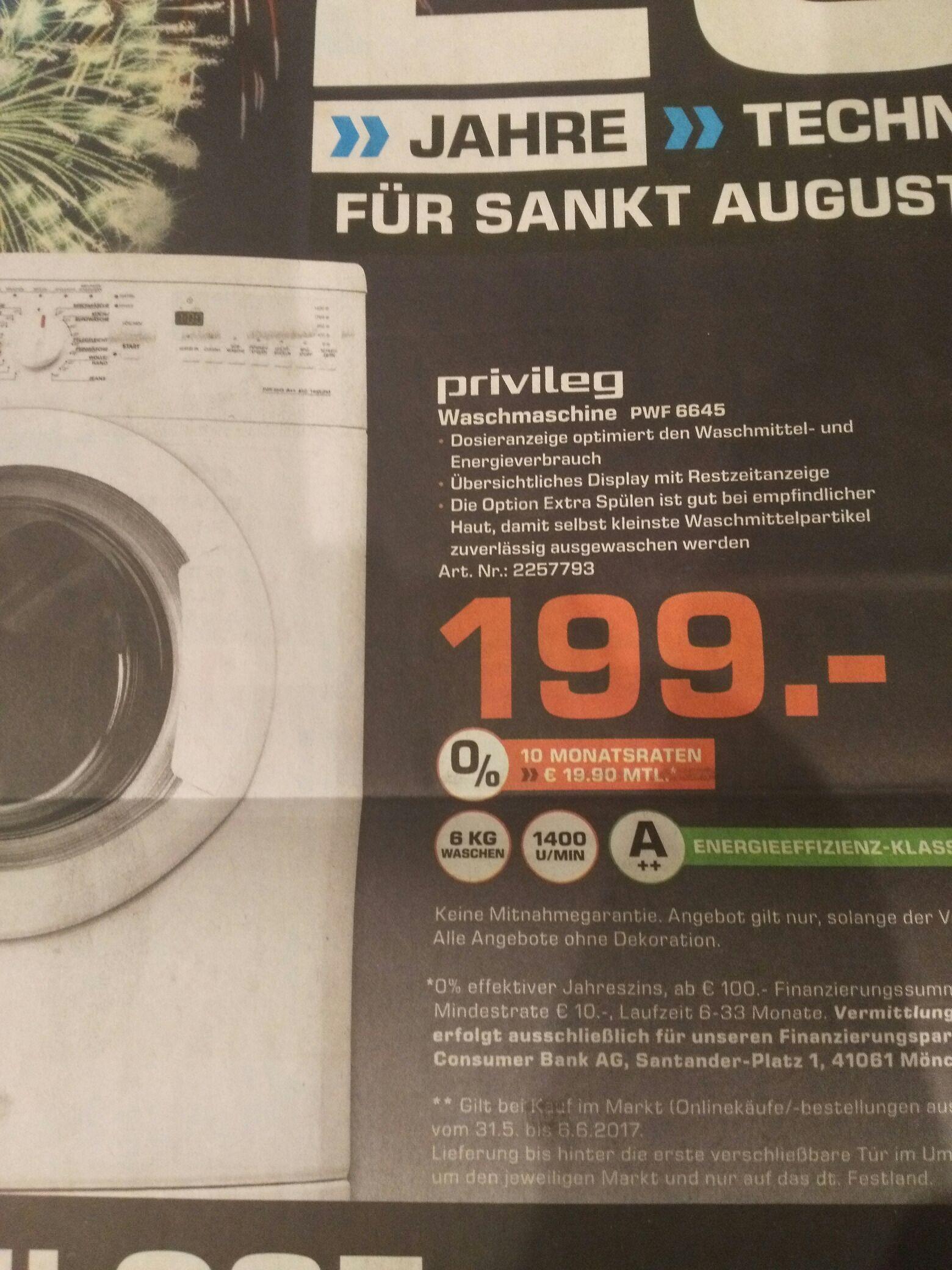 LOKAL Sankt Augustin -  Privileg Waschmaschine PWF 6645, A++, 6 kg, 1400 U/Min