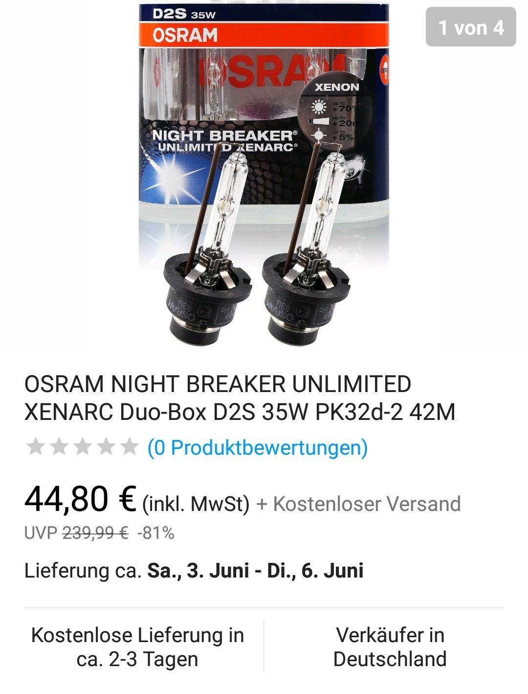 OSRAM NIGHT BREAKER UNLIMITED XENARC Duo-Box D2S 35W PK32d-2 @ Bestpreis