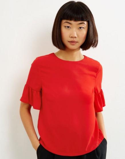 Gratis Versand bei New Look - nur heute! z.B. rotes Damenshirt für 9€ statt 25,99€