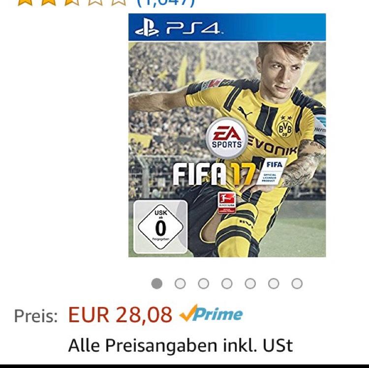 FIFA 17 für PS 4 bei Amazon: 28,08 EUR (mit Prime)