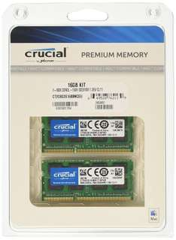 Crucial 16GB Kit für Mac (8GBx2) DDR3 1600 MT/s Arbeitsspeicher