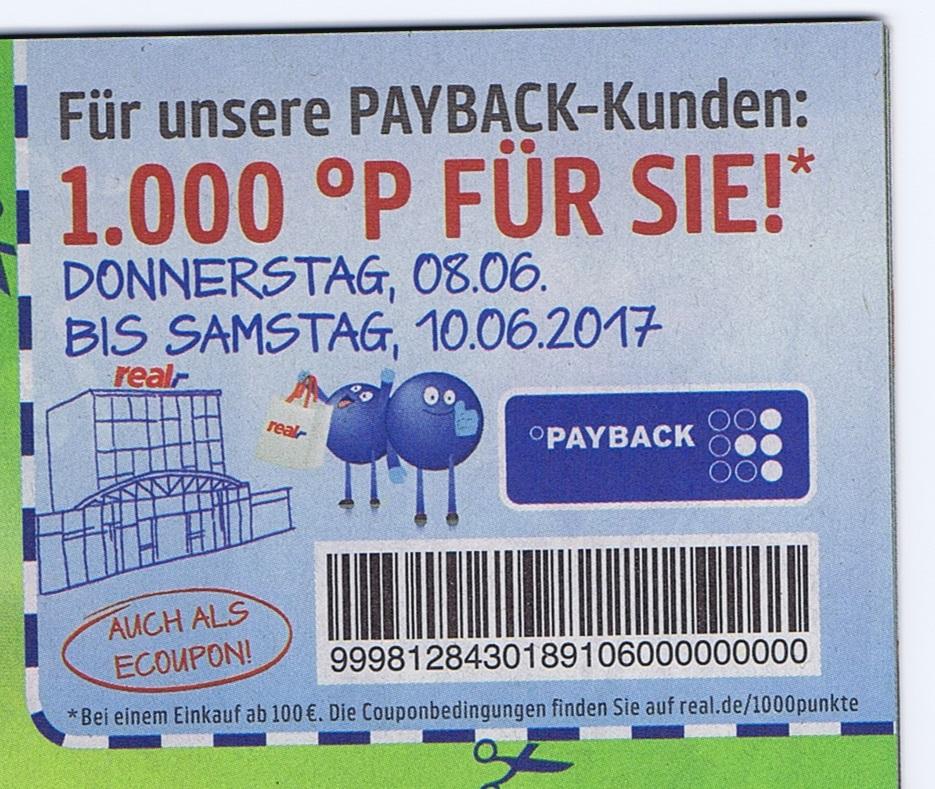 1000 Payback-Punkte ab 100€ Einkauf bei real,- vom 8.6 bis 10.06.2017