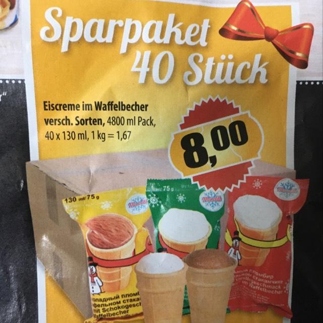 40 Eis (ähn. Plombir) für 0,20€/Stk.