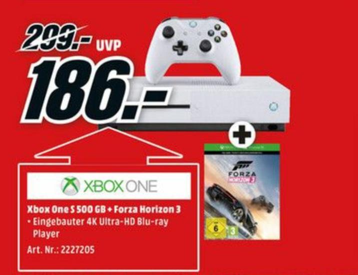 MICROSOFT Xbox One S 500GB Konsole + Forza Horizon 3 oder FIFA 17 oder Battlefield 1 oder Minecraft (bundesweit)