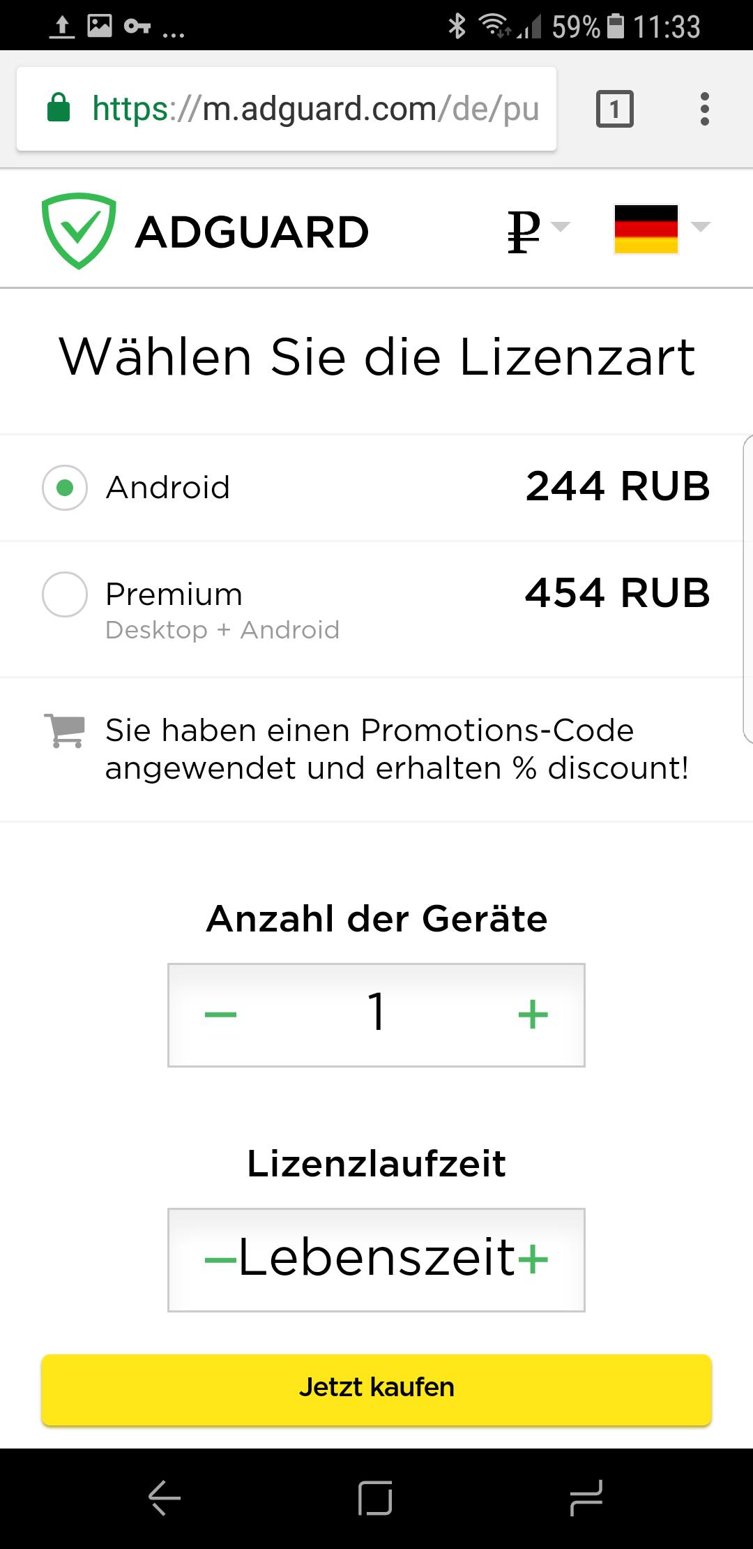 Adguard Android App Werbeblocker (läuft ohne root) Lebenslange Lizenz für 3,82 Euro