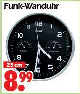 [Wreesmann Sonderposten ,offline] Funk-Wanduhr 25cm - 8,99€