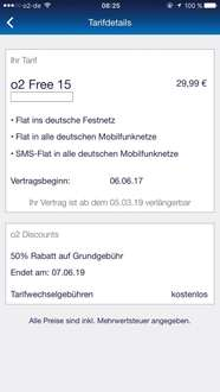 o2 Free 15GB für 14,99€ bei Vertragsverlängerung