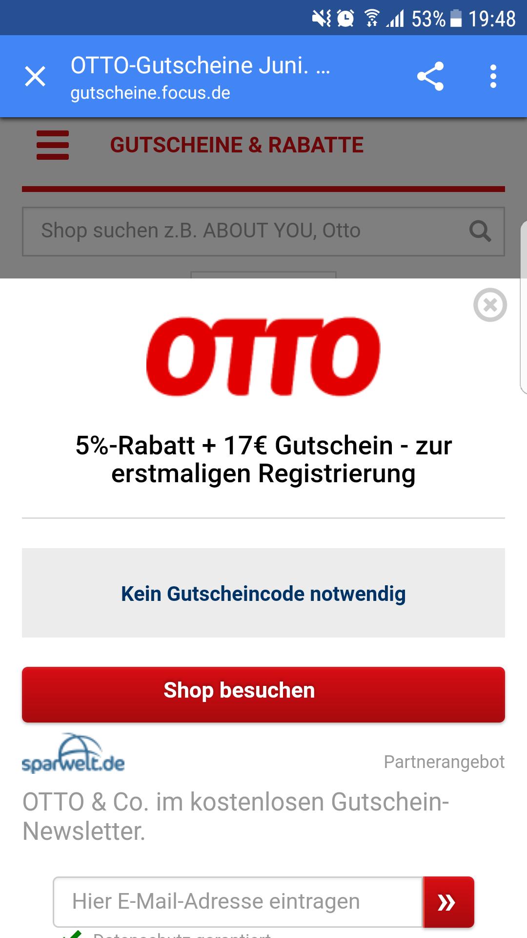 Für Neukunden 5% + 17€ (40€ Mbw) bei Otto bis 13.06