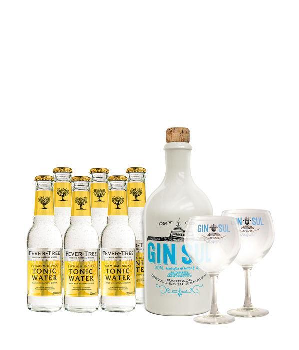 Gin Sul 0,5l + 6x Fever Tree Indian Tonic 0,2l + 2 Gläser bei [Gourmondo] für 38,70€