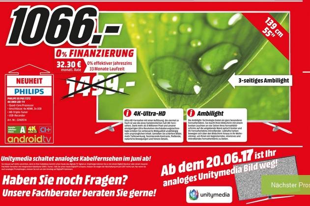 Philips 55PUS7272 Ultra HD LED TV (100 Hz nativ) mit 3-seitigem Ambilight für 1066,00 € @ MM Köln