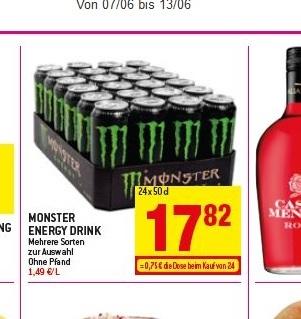 [Grenzgänger Luxemburg] 24 x Monster Energy - versch. Sorten für 17,82 € (Pfandfrei!)