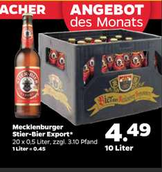 Netto mit Hund  Mecklenburger Stier Bier export ca Liter = 45cent