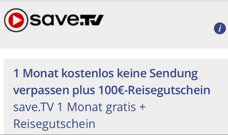 [Vitrado] Save.tv 1 Monat kostenlos testen + 100€ Holidaycheck Gutschein