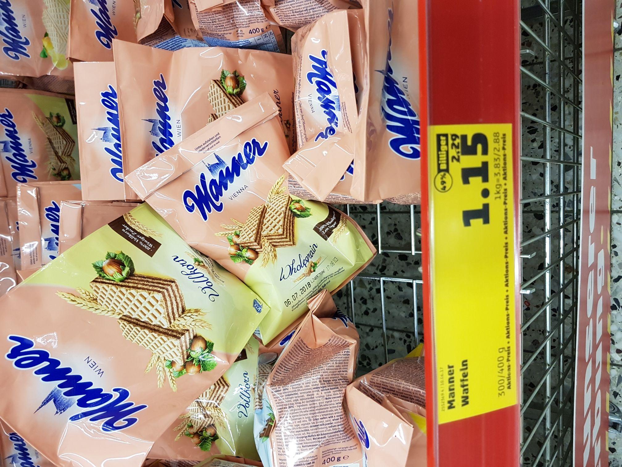 Manner Waffeln Neapolitaner und verschiedene andere Sorten 400g für 1.15€ Penny Bielefeld