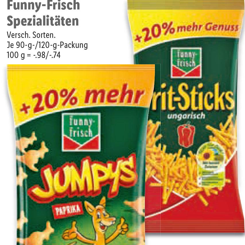 Funny-Spezialitäten Jumpys und die leckeren Frit-Sticks in der GROßEN Tüte mit 20% mehr für nur 88 Cent bei (Lidl ab 19.6.)