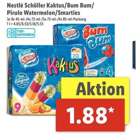 Nestle Schöller Kaktus, Bum Bum, Pirulo Watermelon & Smarties für je 1,88€ + Eishelden-Aktion zwei Packungen für 1,88€ [Lidl ab 19.06.]