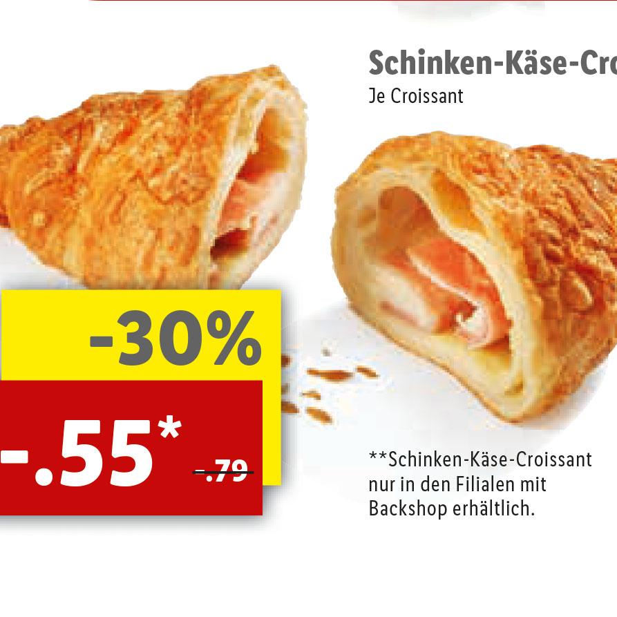 [Lidl] Die leckeren Käse-Schinken-Croissant statt 79 für nur 55 Cent
