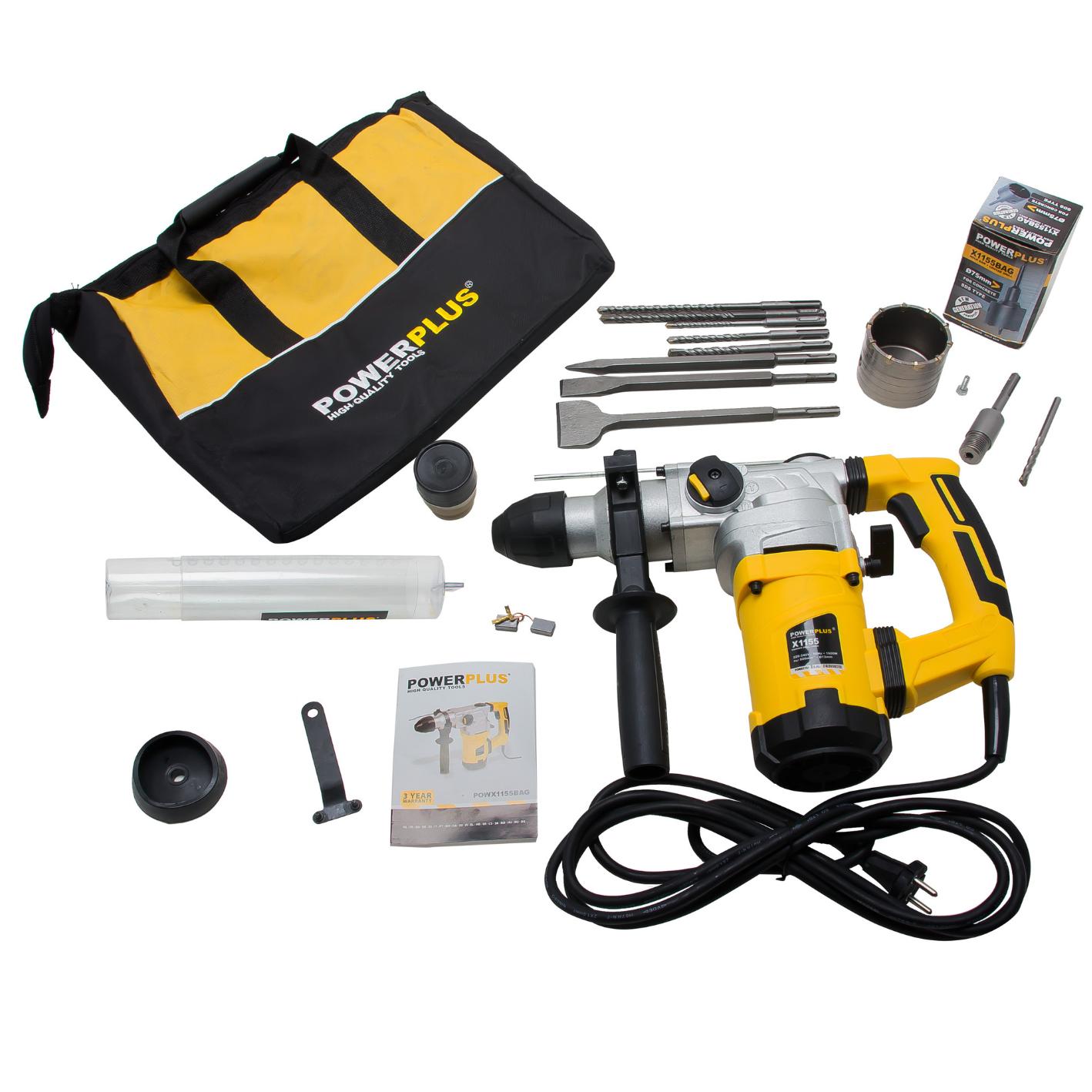 SDS-Plus-Bohrhammer 1600 W Stemmhammer Meißelhammer inkl. Zubehör + Bohrkrone + Tasche für 64,90 Euro
