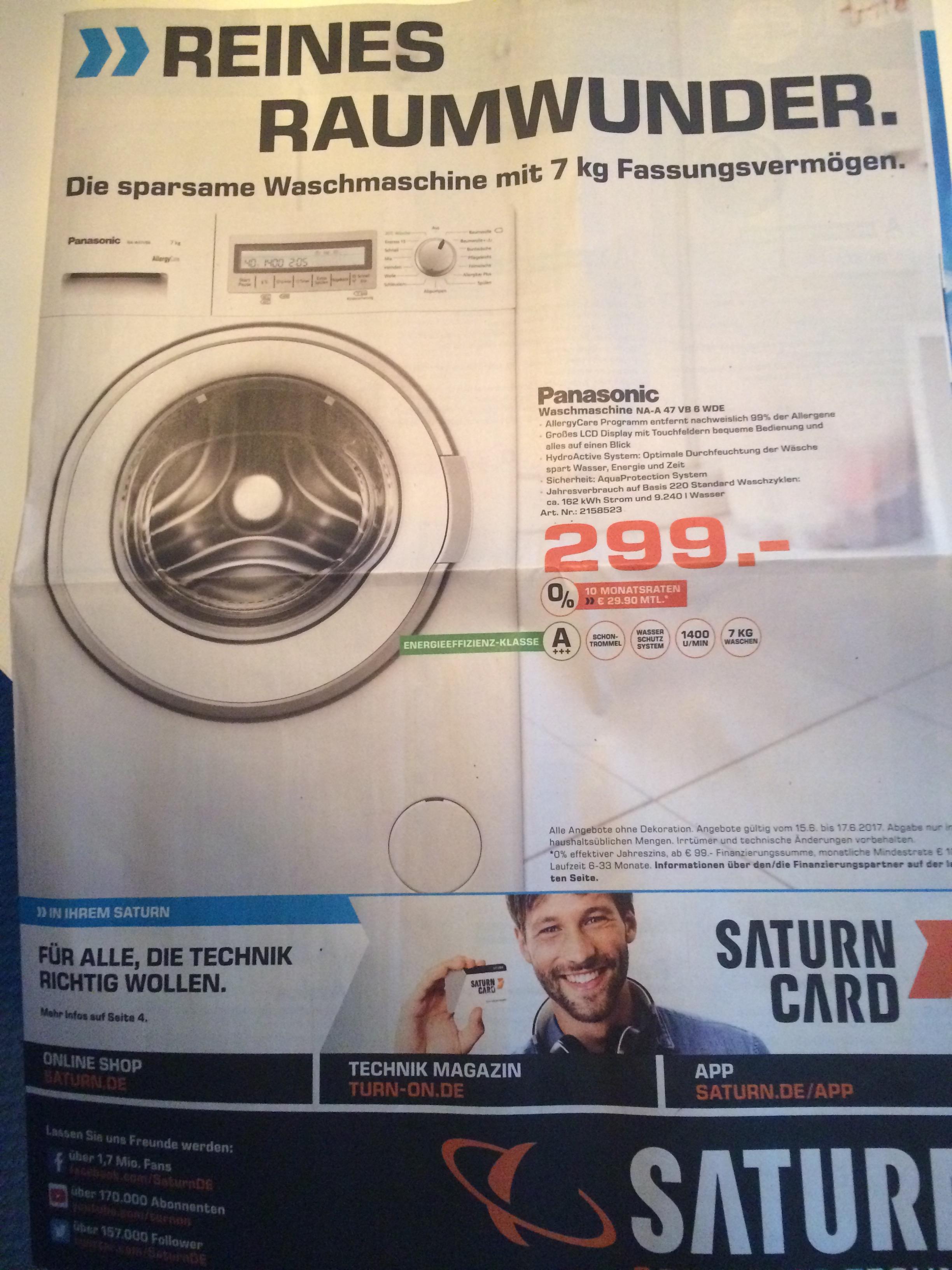 [Saturn Berlin/Potsdam offline] Panasonic Waschmaschine NA-A 47 VB 6 WDE