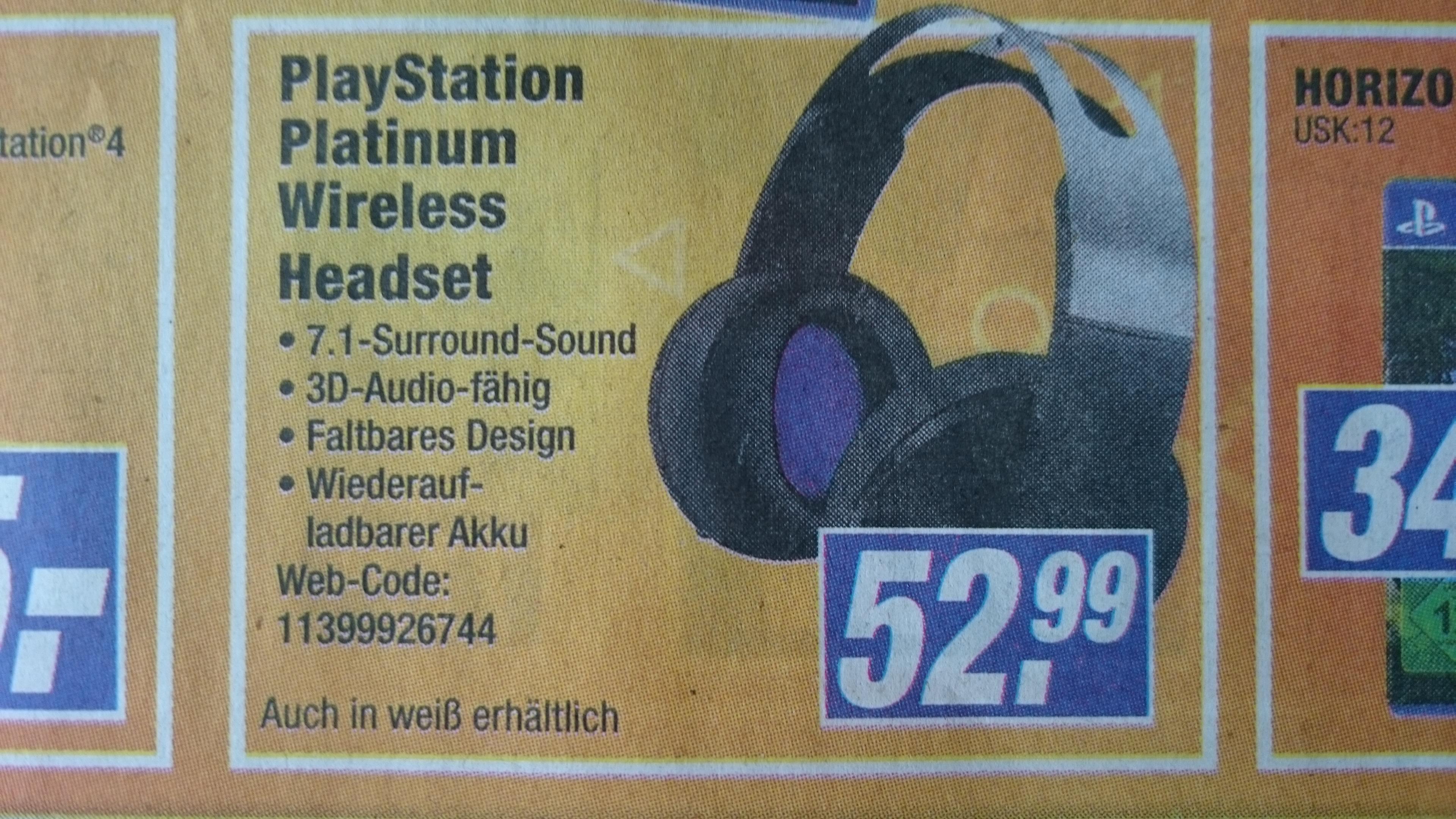 PS4 Playstation PLATINUM Wireless Headset für NUR 52,99€ statt 149,99€ Expert Ibbenbüren [Lokal?]