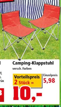 [Thomas Philipps ab 19.06.] 2 Campingklappstühle (verschiedene Farben) für 10 €