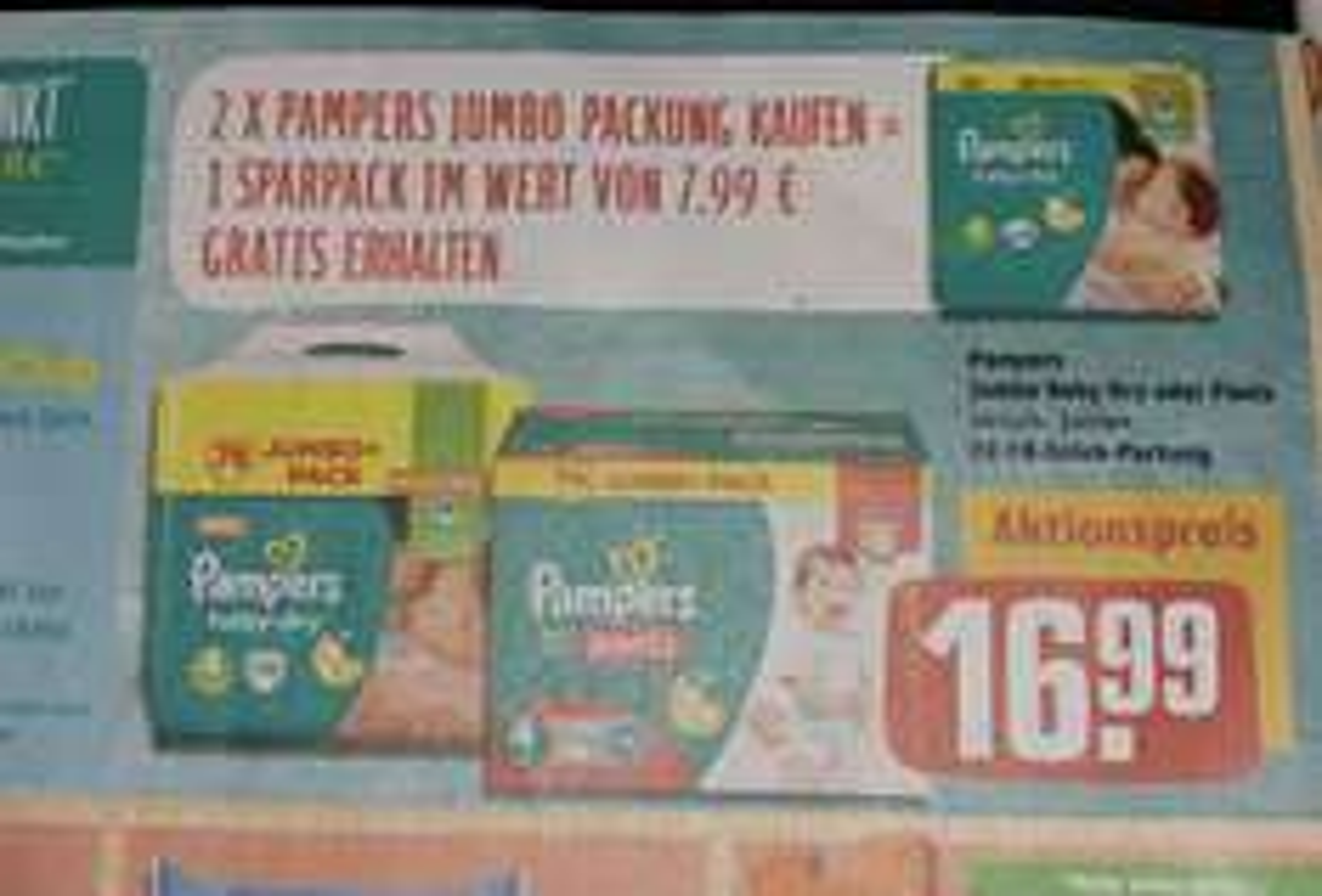 Pampers im Angebot bei Rewe Bsp. Gr.4 - 190 Stück für 33.98 also 16,3 cent pro Windel