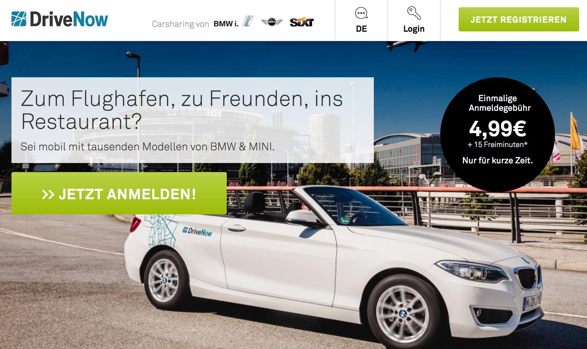 DriveNow Sommer-Deal: Anmeldung 4,99€ anstatt 29,99€ - Mit Shoop 4,50€ Cashback, eff. nur 0,49€