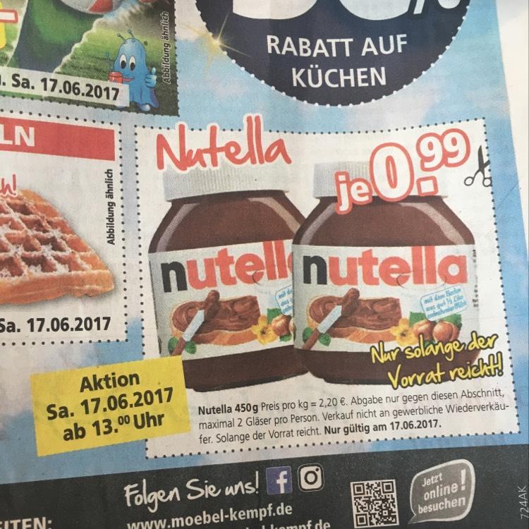 Lokal? Kempf Bad König-Zell Nutella 450 Gramm Glas für 0,99 €