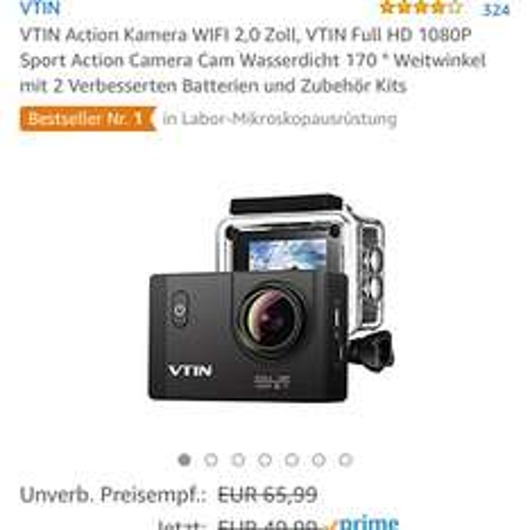 VTIN Action Kamera WIFI 2,0 Zoll, VTIN Full HD 1080P Sport Action Camera Cam Wasserdicht 170 ° Weitwinkel mit 2 Verbesserten Batterien und Zubehör Kits BLITZANGEBOT AMAZON