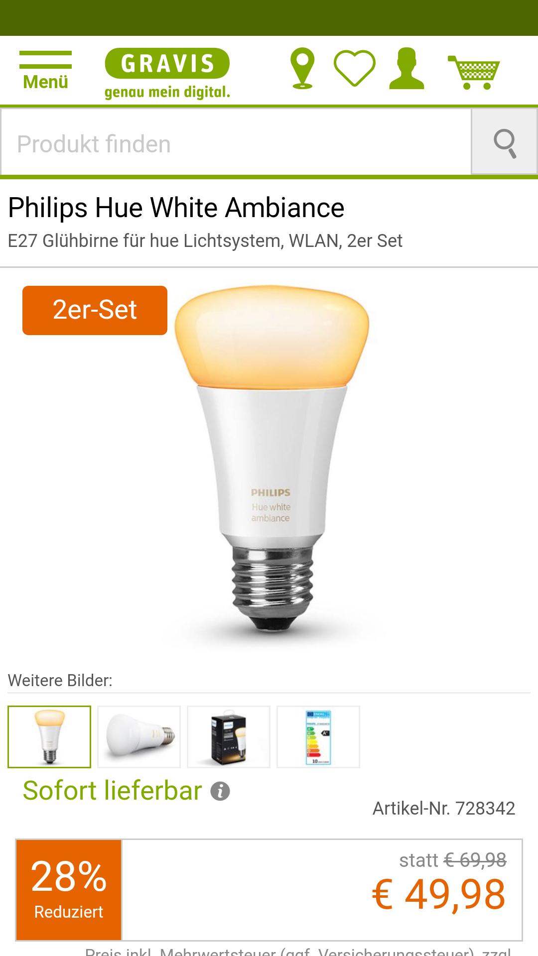 2er-Pack Philips Hue White Ambiance