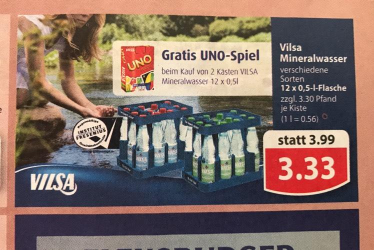 [Lokal: Famila Nordwest offline] 2 Kästen Vilsa Mineralwasser (6,66€) + kostenloses UNO Kartenspiel dazu