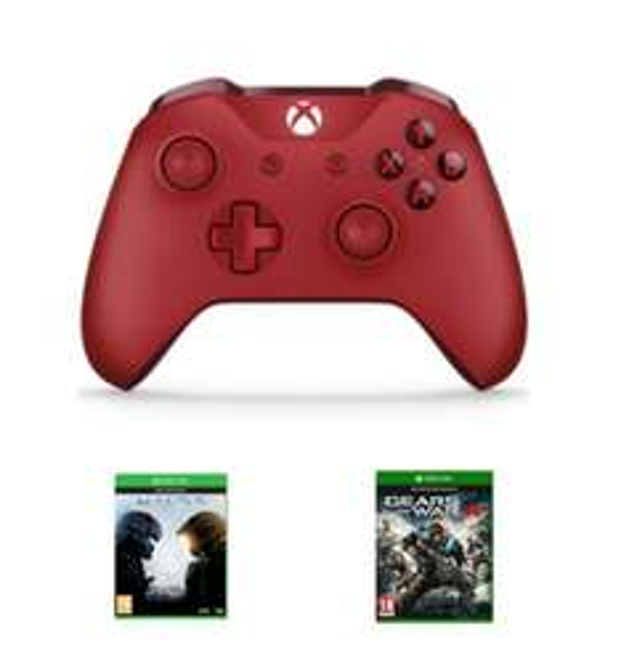 Xbox One Wireless Controller S (Blau, Rot & Weiß) + Halo 5: Guardians & Gears of War 4 für je 66,17€ inkl. VSK (Game UK)