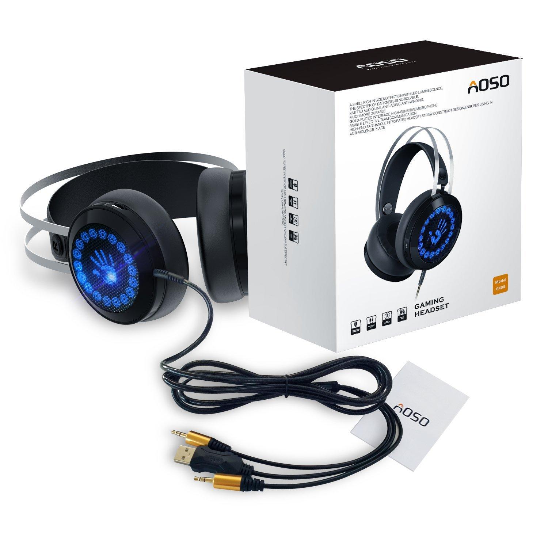 [Amazon Prime] AOSO Gaming Kopfhörer PC G400 Stereo Over-Ear-Headset für PC/PS4/XBOX