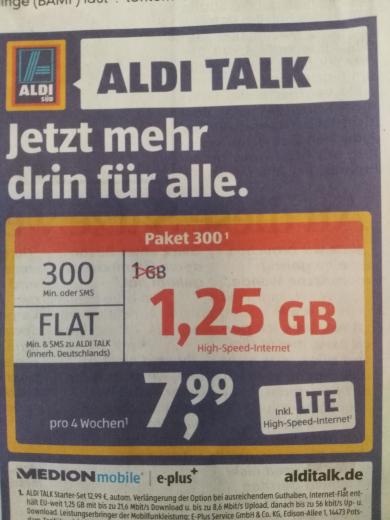 Aldi Talk jetzt mit 1,25 GB
