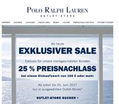 Polo Ralph Lauren Outlets: 25% ab 150€ bis 25.06.