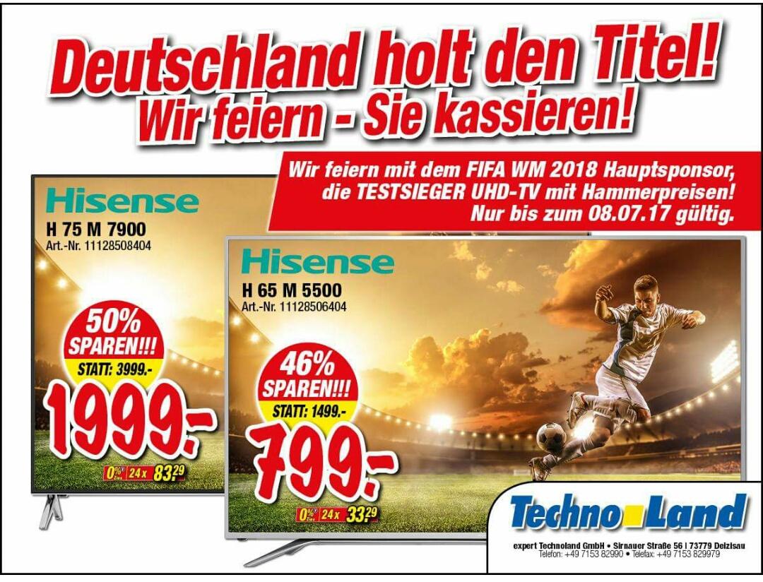 [Lokal Techno Land Deizisau]UHD TVs Hisense H65M5500 für 799€ (statt 1100€) und H75M7900 für 1999€ (statt 2521€)