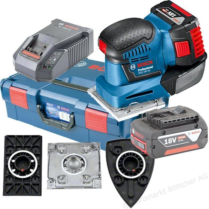 Schwingschleifer Bosch GSS 18V-10, 2x Akku 5Ah, Ladegerät (AL1860CV), 3x Grundplatten, Schleifpapier, Staubbox, Lochwerkzeug, Schraubendreher,  L-BOXX 136 -30€ Cash Back Aktion