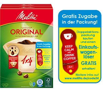 Melitta Filtertüten Aktions Doppelpack kaufen und gratis Einkaufwagenlöser für den Schlüsselbund + 365 Tage gratis Schlüsselfundservice erhalten