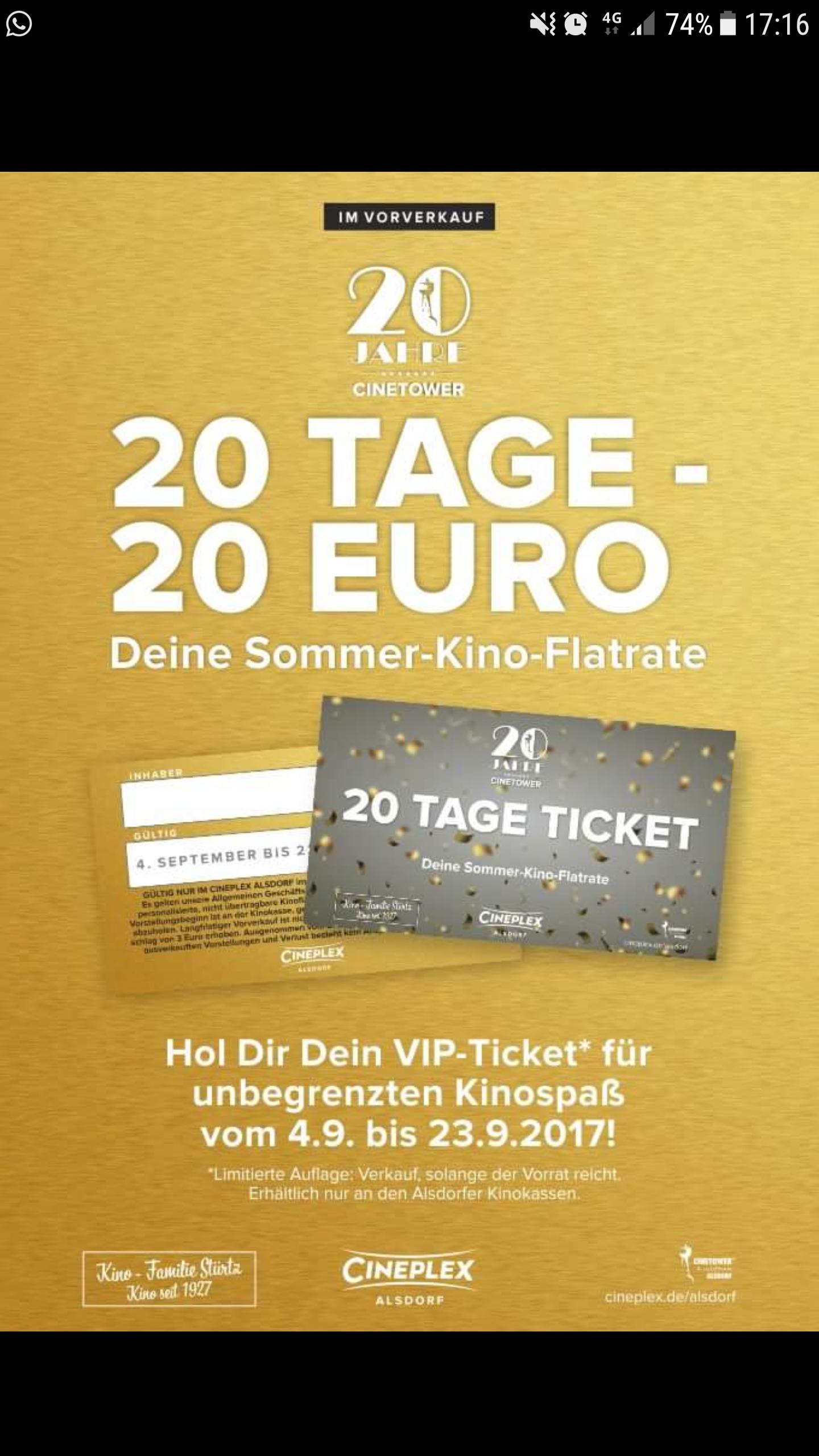 Cineplex 20x Kino für 20 Euro ( Lokal Alsdorf)