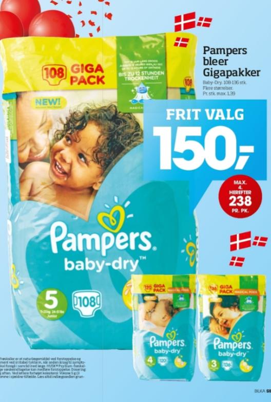 [Bilka DK] Pampers Giga Pack Gr. 3/4/5 für umgerechnet ca. 21 Euro [Für Grenzgänger]