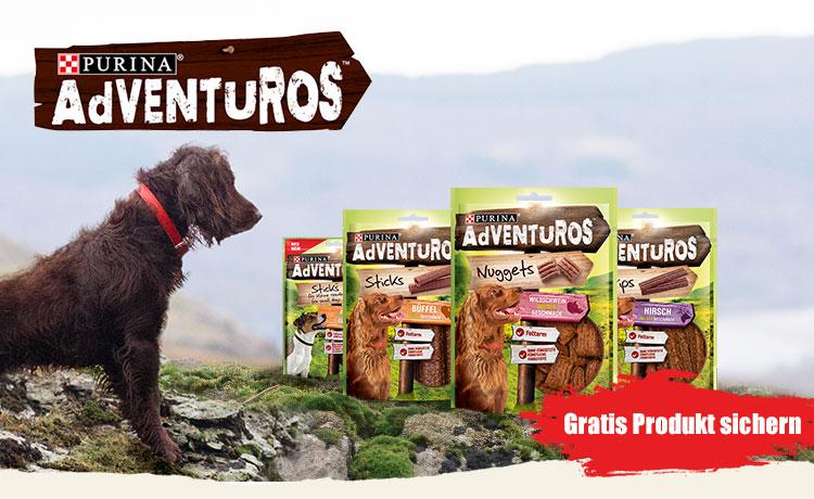 Für die Hundefreunde und Besitzer: Purinas  Adventuros gratis testen.