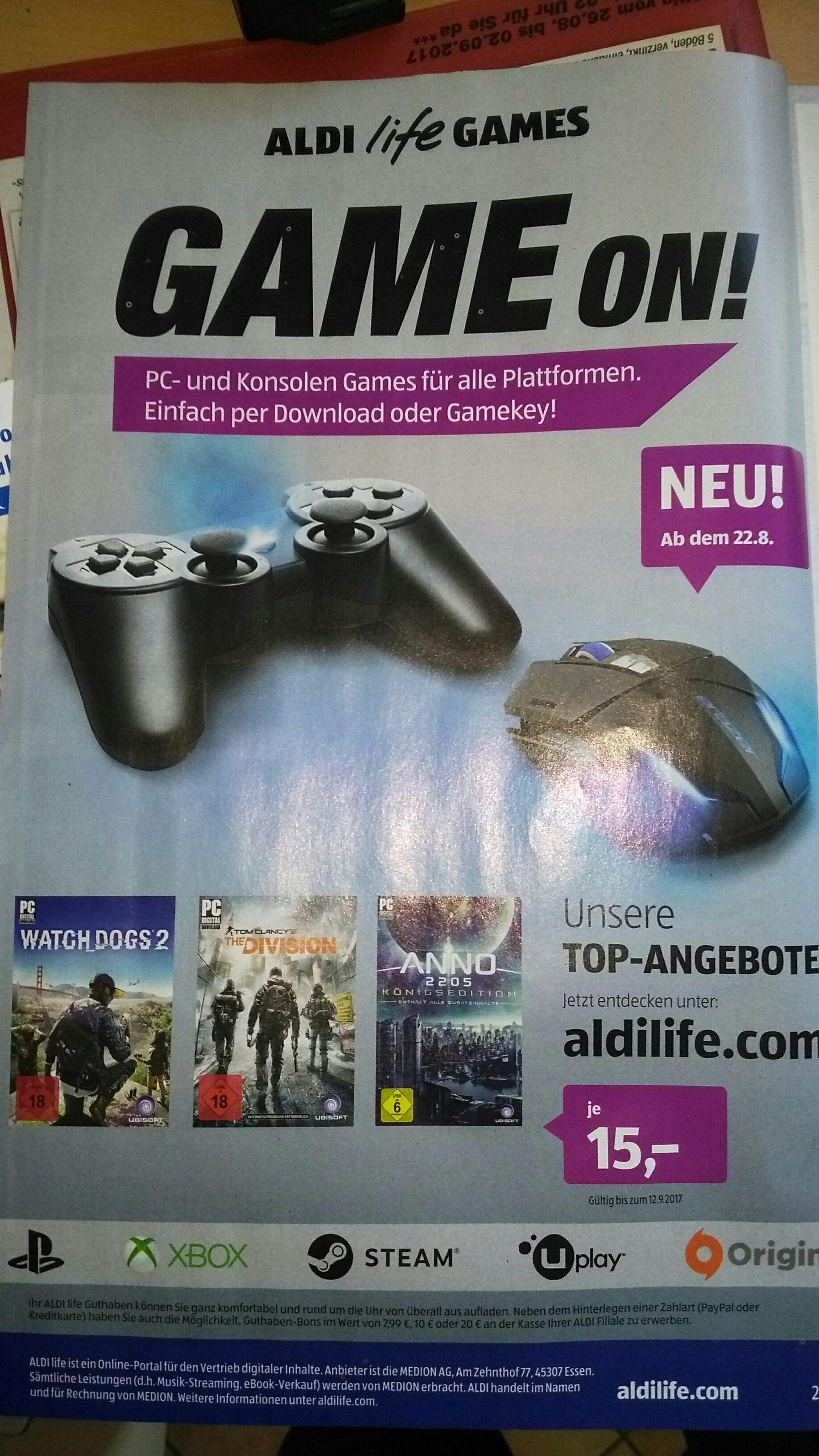 Diverse PC Games bei aldilife.de