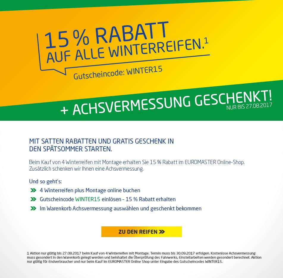 15% auf Winterreifen + KOSTENLOSE Achsvermessung (Wert: 29€)