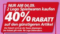 Real; 2 Legosets kaufen 40% Rabatt auf den günstigeren