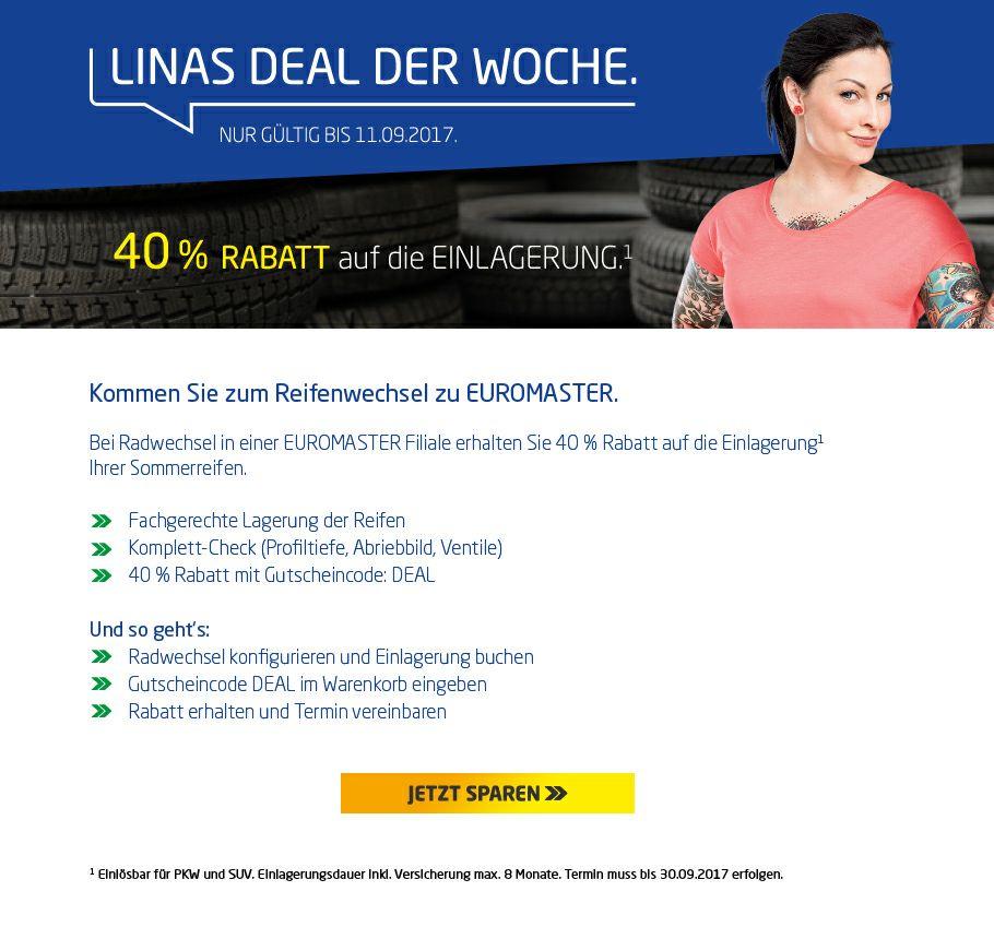 40% Rabatt auf die Einlagerung bei euromaster.de