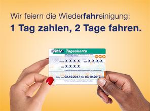 [Lokal Rhein-Main] RMV-Feiertagsangebot: 1 Tag zahlen, 2 Tage fahren (2. & 3. Oktober)