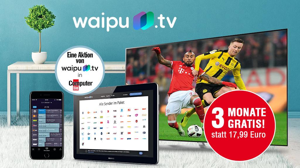 Waipu.tv Comfort für 3 Monate gratis bekommen, inkl. HD via ComputerBild