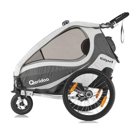[baby-walz] Qeridoo Kidgoo2 (2017) Kinder-Fahrradanhänger für 2 Kinder in anthrazit