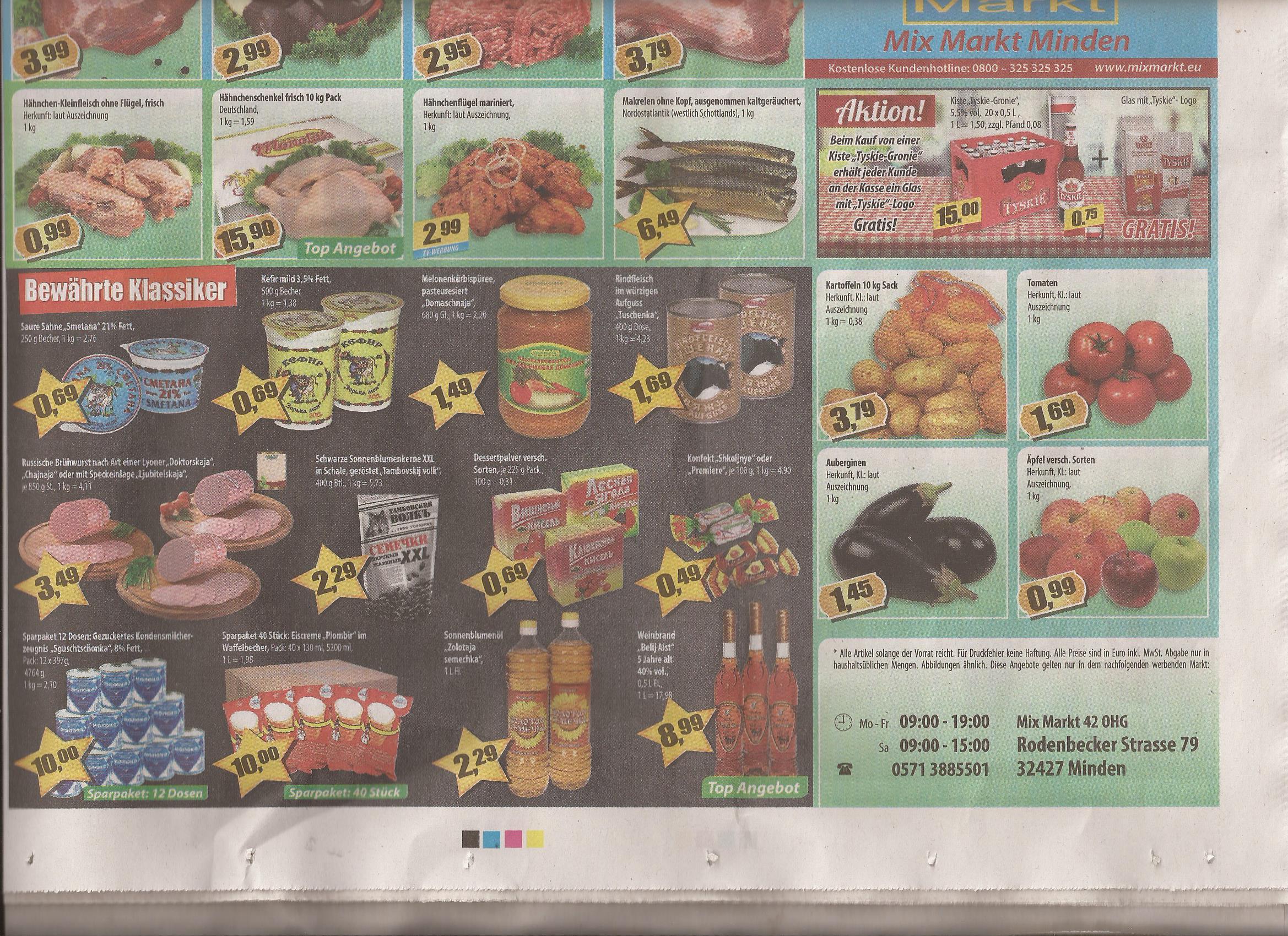 Mix Markt Minden. Russische Spezialitäten zu Discountpreisen. 1 KG Hackfleisch für 2,95. 10 KG frische Hähnchenschenkel 15,90! 1 KG Hühnerklein ohne Flügel für 0,99 Cent.