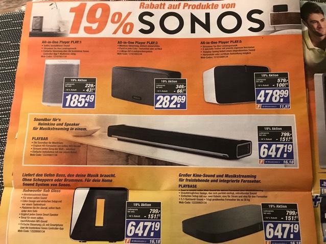 Lokal? Sonos 19% auf die Ladenpreise